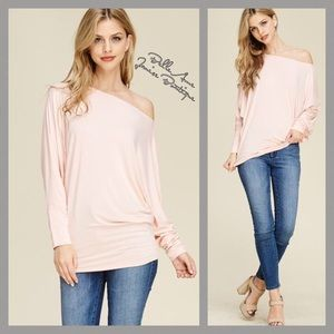 Dolman Sleeve Solid Knit Top Blush Pink
